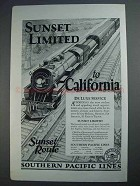 1926 Southern Pacific Lines Railroad Ad, Sunset Limited