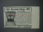 1913 Maryland College for Women Ad