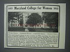 1913 Maryland College for Women Ad - Music Hall