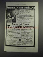 1912 General Electric Tungsten Lamps Ad - Now Cheaper