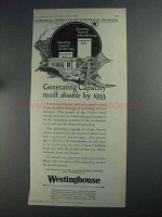 1925 Westinghouse Electric Ad - Generating Capacity