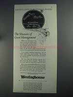 1925 Westinghouse Electric Ad - Good Management