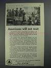 1925 Bell Telelphone Ad - Americans Will Not Wait