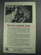 1925 Bell Telelphone Ad - Service Cannot Stop