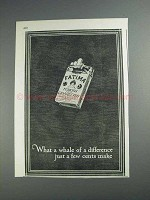 1925 Fatima Cigarettes Ad -  A Whale of a Difference