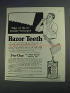 1925 3-in-One Oil Ad - Edge of a Razor Enlarged