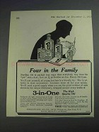 1925 3-in-One Oil Ad - Four in the Family