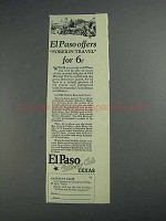 1925 El Paso Texas Ad - Offers Foreign Travel