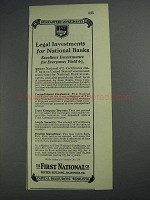 1925 First National Ad - Legal Investments For Banks