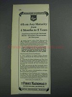 1925 First National Bank Ad - 6% on Any Maturity