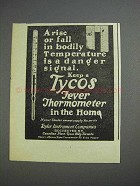 1925 Tycos Fever Thermometer Ad - Bodily Temperature