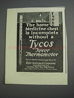 1925 Tycos Fever Thermometer Ad - Medicine Chest