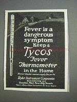 1925 Tycos Fever Thermometer Ad - Dangerous Symptom