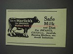 1925 Horlick's Malted Milk Ad - Safe Milk and Diet