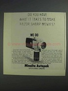 1968 Minolta Autopak-8 K11 Movie Camera Ad - Sharp