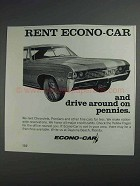 1968 Econo-Car Rental Ad - Drive Around on Pennies