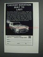 1968 Checker Marathon Car Ad - Built to Last