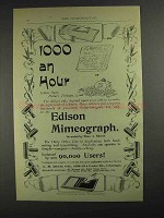 1893 Edison Mimeograph Ad - 1000 an Hour