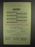 1893 Santa Fe Railroad Ad - Quick!