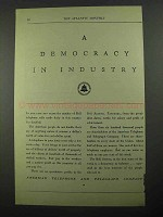 1932 AT&T Telephone Ad - A Democracy in Industry