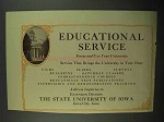 1932 State University of Iowa Ad - Educational Service