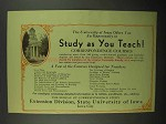 1932 State University of Iowa Ad - Study As You Teach