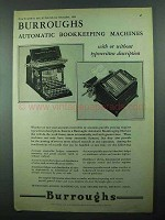 1931 Burroughs Automatic Bookkeeping Machines Ad
