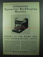 1931 Burroughs Typewriter Bookkeeping Machine Ad - Speeds Up Work
