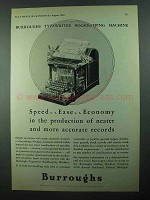 1931 Burroughs Typewriter Bookkeeping Machine Ad