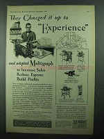 1931 Multigraph Ad - They Charged it Up to Experience