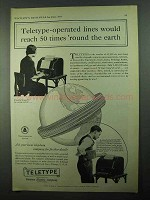 1931 Teletype Corporation Ad - 50 Times 'Round Earth