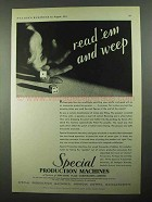 1931 Pneumatic Scale Special Production Machines Ad - Read 'em