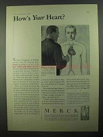1931 Merck Pharmaceuticals Ad - How's Your Heart?