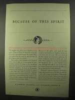 1931 AT&T Telephone Ad - Because of This Spirit