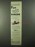 1931 White Star Red Star Line Ad - Rolicking Way Europe