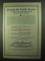 1931 John Hancock Life Insurance Ad - Family Income