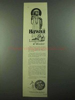 1926 Hawaii Tourist Bureau Ad - Laughs at Winter