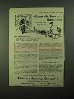 1925 Finance Service Company Ad - Cash Dictate Terms