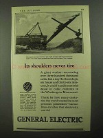 1923 General Electric Ad - Its Shoulders Never Tire