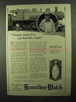 1922 Hamilton Watch Ad - Twenty Years I've Carried