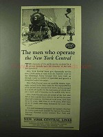 1922 New York Central Ad - The Men Who Operate