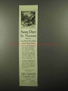 1922 Munson Steamship Lines Ad - Sunny Days in Nassau