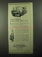 1922 The Equitable Trust Company Ad - Bankers Said