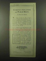1922 The Equitable Trust Company Ad, Currency Inflation
