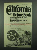 1922 Santa Fe Railroad Ad - California Picture Book