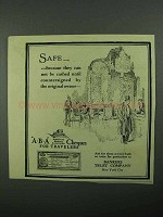 1922 Bankers Trust Company ABA Cheques Ad - Safe