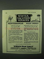 1922 White Star Line Ad - Winter Vacation Voyages