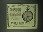 1922 Gruen No. X41 Watch Ad