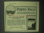 1922 Porto Rico Line Ad - All Expense Cruise