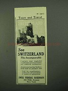 1922 Swiss Federal Railroads Ad - Incomparable